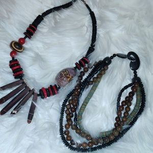 set of 2 vintage native necklaces